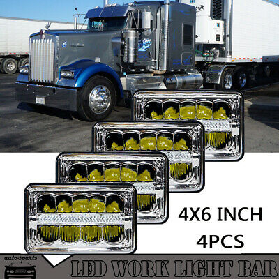 "4pcs 4x6"" 45W Crystal Projector Headlight LED for Kenworth W900 Chevy K10"