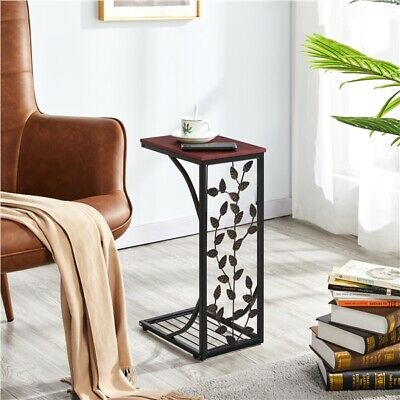 Small Accent Table Side End Antique Gold//Bronze Furniture Glass Metal Nightstand