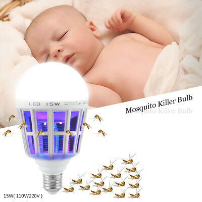 E27 15W 220V/110V LED Zapper Bulb Mosquito Insects Killer Lamp Pest Bug Light G
