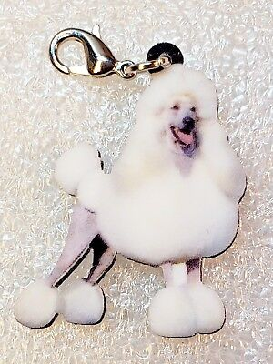 Poodle White Dog Acrylic Double-Sided Bag Purse Charm Dangle Zipper Pull Jewelry