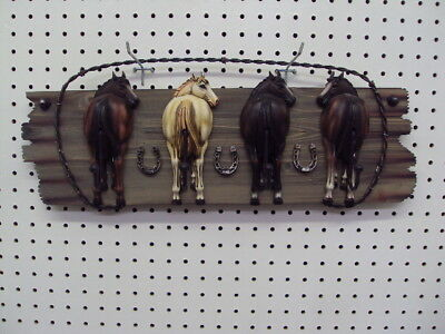 Wall Hanging Horse Decoration 4 Horses Looking Back With Hooks