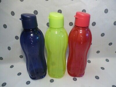 Tupperware Round 1L Eco Water Drink Bottle Flip Top Seal Blue Purple Pink New