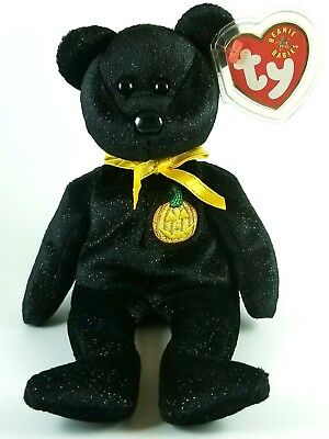 """Haunt"" the Halloween Black Bear - Ty Beanie Baby 2001 NEW WITH TAG (8.5 inches)"