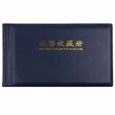 Banknote Currency Collectors Album Pocket Storage 30 Pages Royal blue W4M3