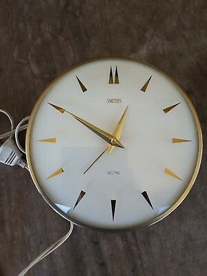 Vintage Smiths Sectric Wall Clock WHITE FACE METAL RIM
