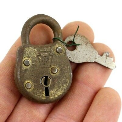 "Vintage Small Metal ""F"" Stamped Luggage Gumball Machine Trunk Lock & Old Key"