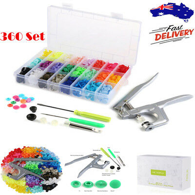360 Set Snap Pliers + T5 Plastic Resin Press Fastener Snaps Button 24 Colors AU