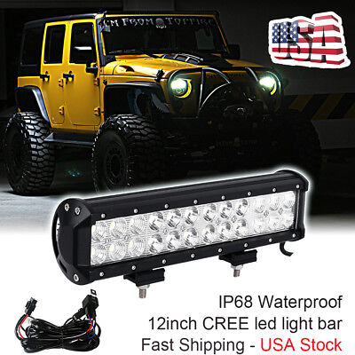 12 Inch CREE LED Work Light Bar Pods SUV 4WD ATV GMC Offroad Truck Jeep Ford UTE