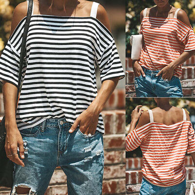 Women Fashion Off Shoulder Short Sleeve Striped Loose Tops Casual Blouse T Shirt