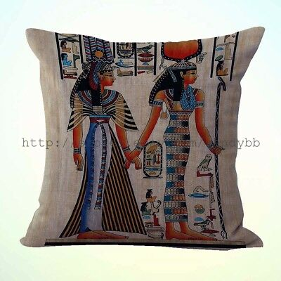 US Seller-Isis and Queen Nefertari Ancient Egyptian cushion cover throw cover