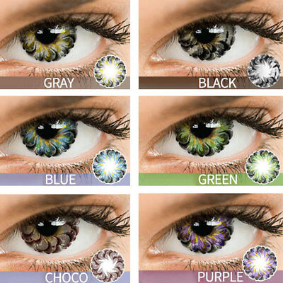 1 Pair Floral Contact Lenses Yearly Use Colorful Cosmetic Eye Make Up Con Clase