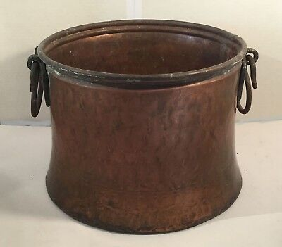 Antique copper cauldron. Dovetailed. Hand forged Apple butter kettle. Rustic.