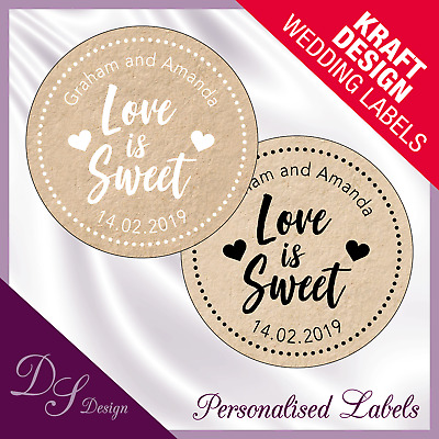 DSD053 Personalised LOVE IS SWEET Labels Stickers Kraft Effect Wedding Favours