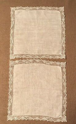 Beautiful Antique Silk Hankerchiefs, Ivory/White With Gorgeous Lace, Set Of Two