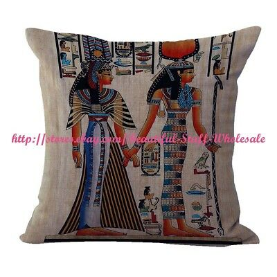 US SELLER- Isis and Queen Nefertari Ancient Egyptian cushion cover throw pillows