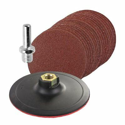20 x Mixed Grit Hook & Loop 125mm Sanding Discs with Backing Pad & Drill Adaptor