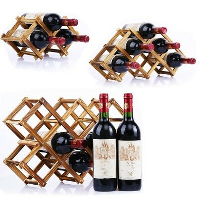 Wooden Wine Holder Folding Rack Storage Stand Bottle Mount Cabinet Ornament Xmas