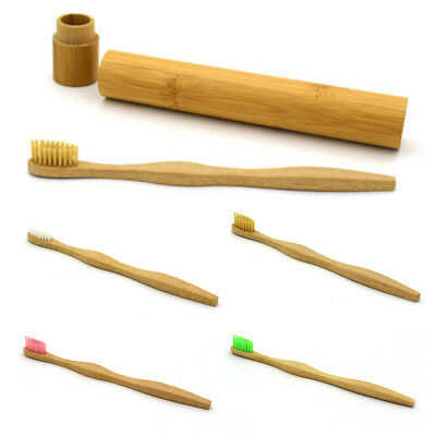 Bamboo Wood Soft Bristle Brush Toothbrush Travel Teeth Brush Oral Care + Holder