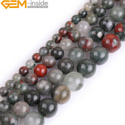 Natural Grade AAA Gemstone African Blood Stone Round Beads For Jewellery Making