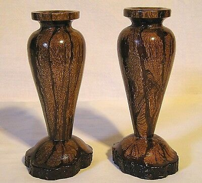"Chrysanthemun Wood Candlestick Holders 5 1/4"" Tall (Pair) Beautiful Grained Nice"