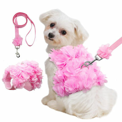 Breathable Flower Small Dog Harnesses Leash Puppy Vest Dog Chest Strap Leash Set