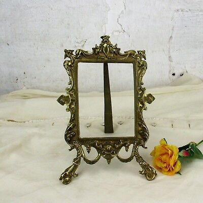 Large Vintage French Standing  Brass Embossed Oval  picture frame  rococo Ornate