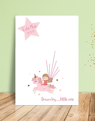 Personalised Fingerprint Guest Book Print - Unicorn Design