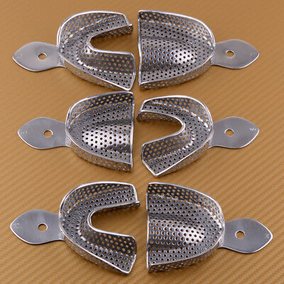 6Pcs Upper Lower Dental Autoclavable Metal Impression Trays Stainless Steel