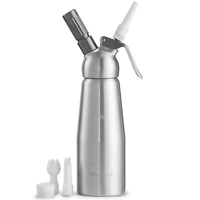 VonShef Whipped Cream Dispenser Chargers Whipper 500ml With Attachments