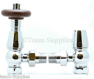 Bentley Traditional Thermostatic Radiator Valve Chrome Angled TRV & Lockshield