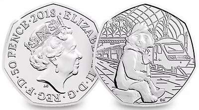 Paddington Bear 50p Fifty Pence 2018 at the station Brilliant Uncirculated coin