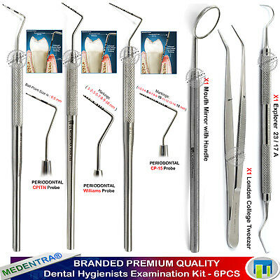 Dental Tartar Cleaning Exam Kit Williams Periodontal Probes CP-15 Scaler Tweezer