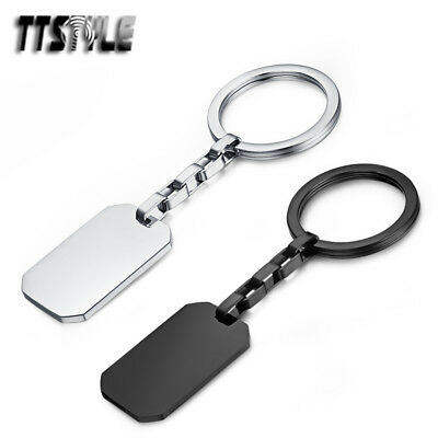 TTstyle Polished Stainless Steel Dog Tag Keyrings 2 Colours NEW