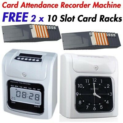 Attendance Clock Digital Time Recorder Punch Card Machine + Free Card Slot Racks