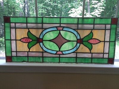 TWO (2) Antique STAINED Leaded GLASS Transom Windows —Need Restoration—