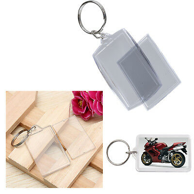 Top Quality Clear Blank Acrylic Photo Key Ring 50 x 35mm Insert Personalize UK