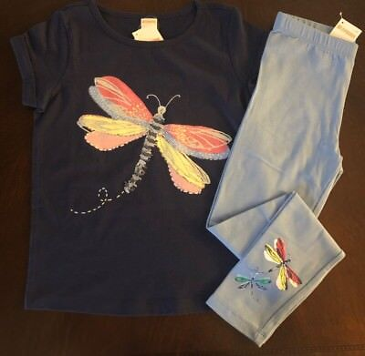 NWT Gymboree Girl Wildflower Weekend Dragonfly Tee & Blue Leggings Outfit 7 8