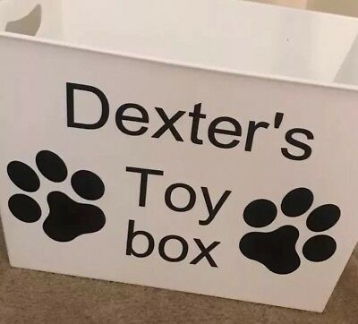 Pesonalized Name & Paw Prints Dog Toys Vinyl Only Attach To Puppy's Dogs Box New