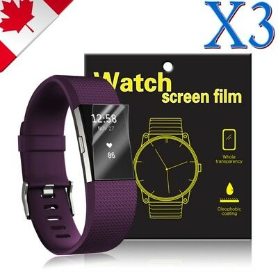 3X Ultra Clear Hydrogel AQUA Screen Protector Film Guard For Fitbit Charge 2 3
