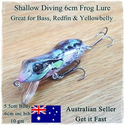 Frog Fishing Lure, Redfin, Bass, Yellowbelly, Barra, Trout, Cod, Perch, Shallow