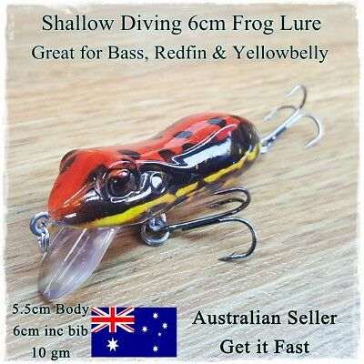 Frog Fishing Lure, Redfin, Bass, Yellowbelly, Barra, Trout, Cod, Perch, Red Frog