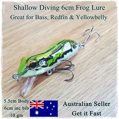 Green Frog Fishing Lure, Redfin, Bass, Yellowbelly, Barra, Trout, Cod, Perch 6cm