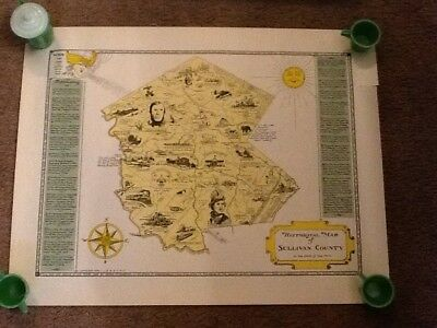 1954 Historical Map Of Sullivan County In The State Of New York w/Org. Container