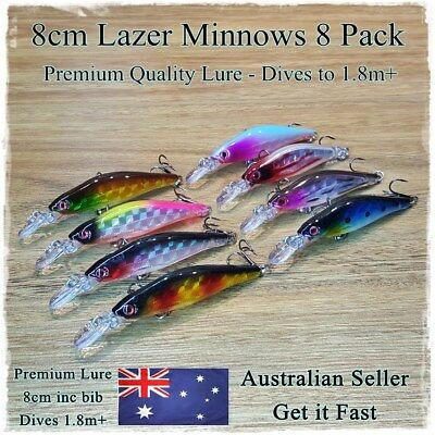 8 Redfin & Bream Fishing Lures, Yellowbelly, Flathead, Bass, Perch, Trout, Lure