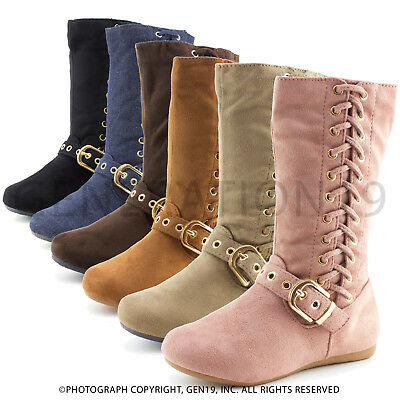 Link Girls Zipper & Lace Faux Suede Slouch Boots R25K (Toddler 9 10/Youth 11-4)