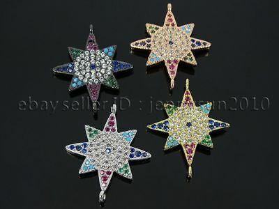 Multicolor Zircon Gemstones Pave Star Bracelet Connector Charm Beads Silver Gold