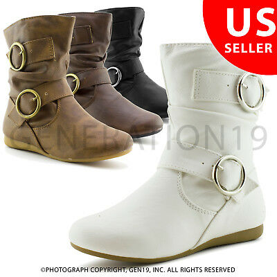 Link Girls Zipper Faux Leather Slouch Boots Rachel 43K (Toddler 9-10/Youth 11-4)