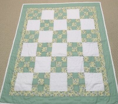 New Handcrafted Cotton Yellow/Green Floral Irish Chain Baby Quilt