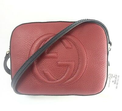 8f6906dbf1a2 AUTHENTIC New Gucci Soho Red/White/Blue Leather Disco Bag Crossbody,#431567