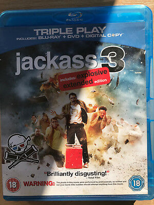Johnny Knoxville JACKASS 3 ~ Comedy Stunt Film Movie Extended UK Blu-ray + DVD